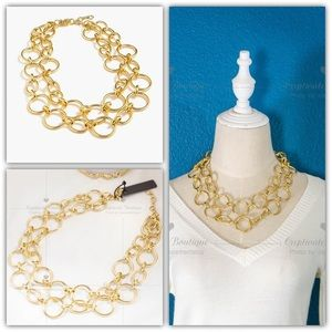 J.Crew Layered Double-row Gold Link Necklace